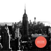 Halftone Background Design - New York Skyline — Stock Vector