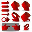 Постер, плакат: Set of Red 3D Paper Cut Vector Arrow Illustrations Clip Art