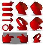 ������, ������: Set of Red 3D Paper Cut Vector Arrow Illustrations Clip Art