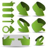 Set of Green 3D Paper Cut Arrow Illustrations Clip-Art — Stockvektor