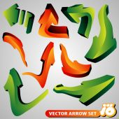 Set of 3D Arrow Signs — Stock Vector