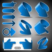 Set of 3D Paper Cut Vector Arrow Illustrations Clip-Art — Stock Vector