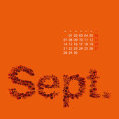 Abstract Dotted Monthly Calendar Design Template in Seasonal Colors - September 2015 — Stock Vector