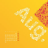 Abstract Dotted Monthly Calendar Design Template in Seasonal Colors - August 2015 — Stock Vector