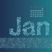 Abstract Dotted Monthly Calendar Design Template in Seasonal Colors - January 2015 — Stock Vector