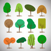 Abstract Tree Silhouettes Collection Clipart — Stockvector