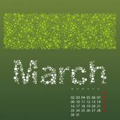Abstract Dotted Monthly Calendar Design Template in Seasonal Colors - March 2015 — Stock Vector