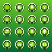 Green Shiny Eco Logos, Icons — Stockvector