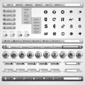 Collection Of Grey Modern Styled Website Design Elements — Stockvector