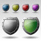 Set of Colorful Metallic Shields Illustrations — Vetorial Stock