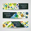 Colorful Vector Set of Three Header Designs with Dots, Circles, Rings — Stock Vector #59035303