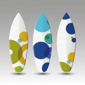 Vector Surfboards Design Template with Colorful Spotted Pattern — Stock Vector