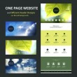 One Page Website Template and Different Header Designs with Blurred Cloudy Sky and Leaves Image Backgrounds — Stock Vector #60209007