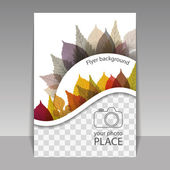 Flyer or Cover Design with Place for Your Photo - Autumn Leaves — Stock Vector
