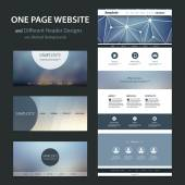 One Page Website Template and Different Header Designs with Blurred Backgrounds — Vetor de Stock