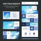 One Page Tiled Website Template and Different Header Designs with Blurred Sunset and Cloudy Sky Backgrounds — Vetorial Stock