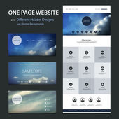 One Page Tiled Website Template and Different Header Designs with Blurred Sunset and Cloudy Sky Backgrounds — Vetor de Stock