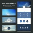 One Page Website Template and Different Header Designs with Blurred Backgrounds - Cloudy Skies — Stock Vector #60993137