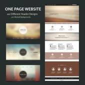 One Page Website Template and Different Header Designs with Blurred Natural Backgrounds — Vetor de Stock