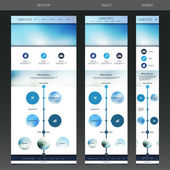 One Page Website, Responsive Flow Chart and Diagram Template with Blurred Header — Stock Vector