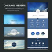One Page Website Template and Different Header Designs with Blurred Backgrounds - Cloudy Skies — Vetor de Stock