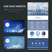 One Page Website Template and Different Header Designs with Blurred Backgrounds - Cloudy Skies and Cityscape — Vetor de Stock