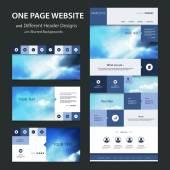 One Page Website Template and Different Header Designs with Blurred Backgrounds - Cloudy Skies — Vetorial Stock