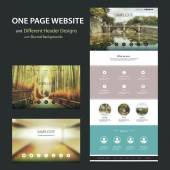 One Page Website Template and Different Header Designs with Blurred Background with Eco Concept and Oriental Natural Theme: Lush Bamboo Forest, Woods, Lake with Bridge — Stock Vector