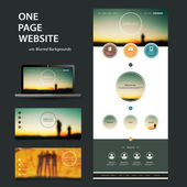One Page Responsive Website Template, Different Header Designs with Blurred Background Set - Standing People Silhouttes in the Dark at Sunset — Vetorial Stock