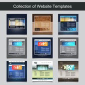 Collection of Website Templates for Your Business - Nine Nice and Simple Design Templates with Different Patterns and Header Designs — Stock Vector