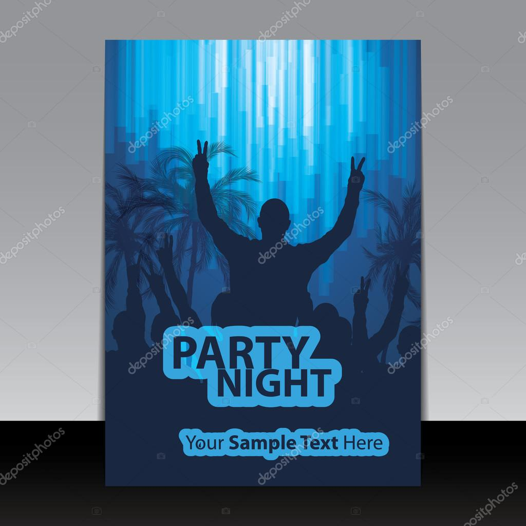 flyer or cover design ad template for party night celebration book cover dancing crowd people in the dark palm trees bright light and silhouettes waving hands poster brochure or invitation template