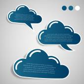 Collection of Paper Cut Cloud Shaped Speech Bubbles Template — Stockvector
