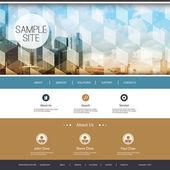 Websiteontwerp voor uw bedrijf met wolkenkrabbers achtergrond — Stockvector