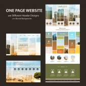 One Page Website Template and Different Header Designs with Cityscape Montage Concept Image Backgrounds - Multicolored Tiled Bright Sunny City View Photo Mosaic Header — Stock Vector