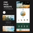 One Page Website Template and Different Header Designs with Cityscape Concept Image Backgrounds - Multicolored Tiled Bright Sunny City View Photo Mosaic Header — Stock Vector #68012499