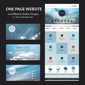 One Page Tiled Website Template and Different Header Designs with Abstract Blurred Natural Theme, Sunset and Cloudy Sky Background — Vetor de Stock