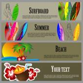 Summer Beach Banners Set — Vetor de Stock