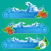 Summer Seas Banners Set — Vetor de Stock