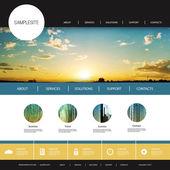 网站设计模板为您的业务与日落图像背景-云,太阳,太阳光线的 — 图库矢量图片