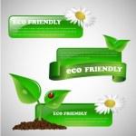 Green Environmentally Friendly Banner or Design Element Collection — Stock Vector #73779383