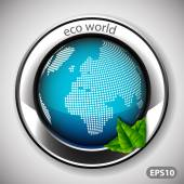 Eco World - Label with Earth Globe — ストックベクタ