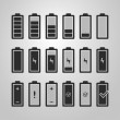 Black and White Battery Icon Set Design - Charging Level Indicator, Warning Information — Stock Vector #75672131