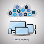 Cloud Computing Concept Design with Icons in the Cloud Representing Various Kinds of Digital Media, Streaming, Web Hosting and Storage Services — Stock Vector