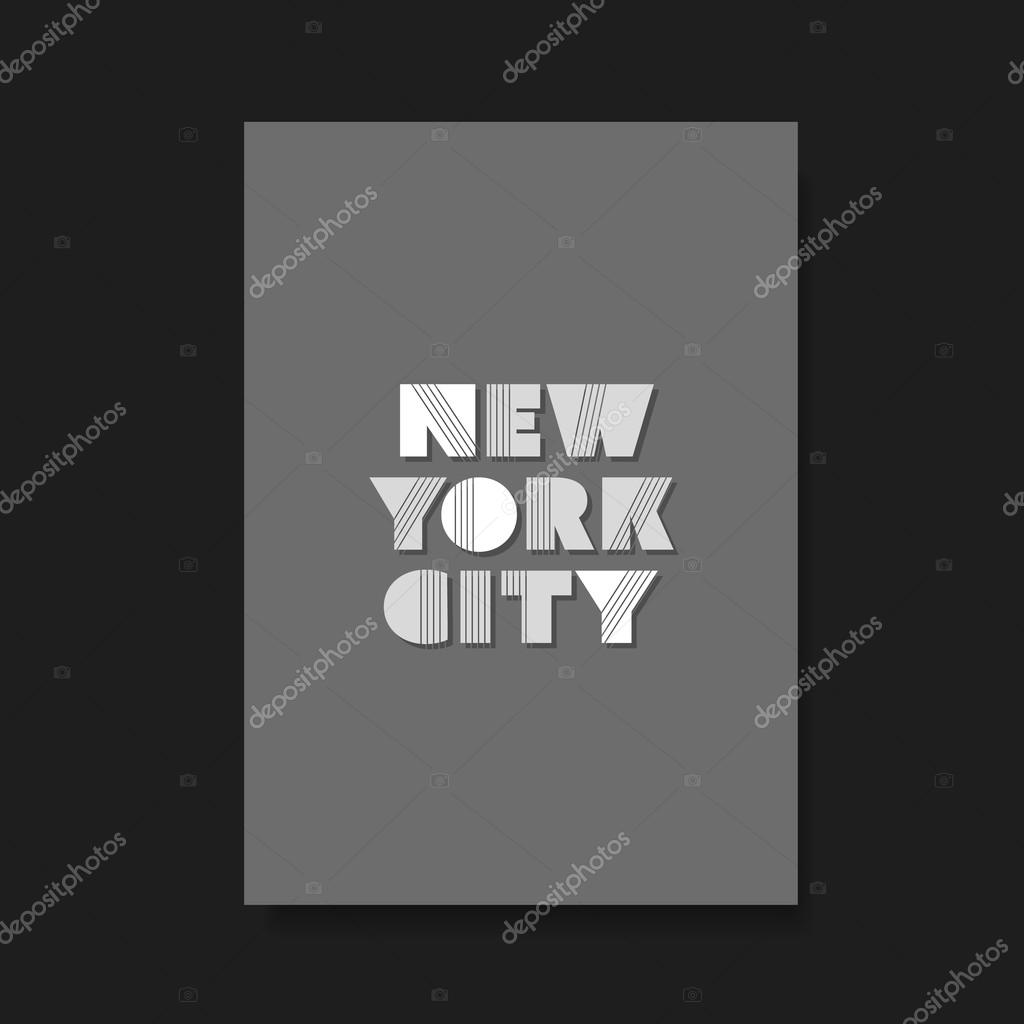 Typographic Book Cover Vector ~ New york city bold typographic design for flyer book