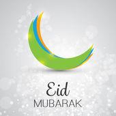 Eid Mubarak - lua no céu - cartão de felicitações para o Festival da comunidade muçulmana — Vetor de Stock