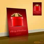 Red Gift Box for Christmas - Flyer Or Cover Design — Vettoriale Stock