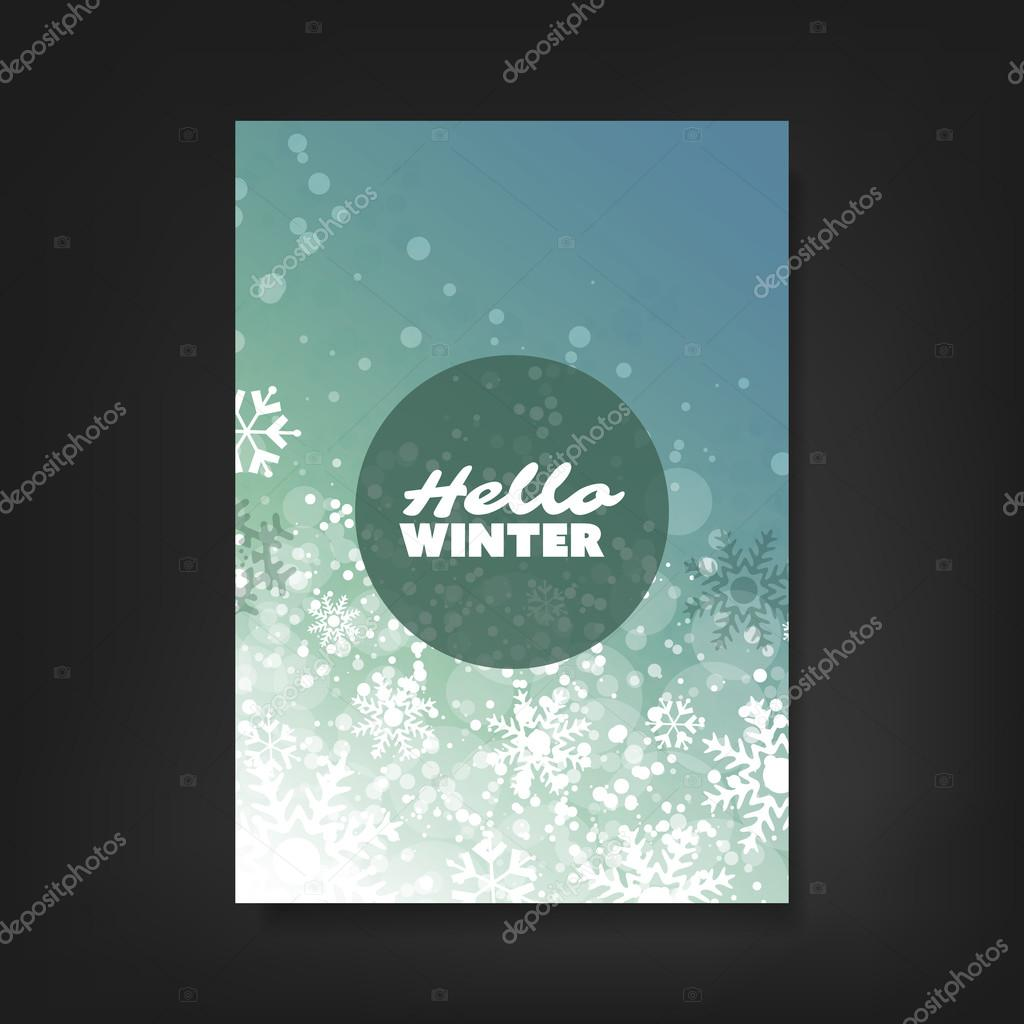 hello winter flyer card or cover design sparkling pattern hello winter flyer card or cover design sparkling pattern background corporate identity