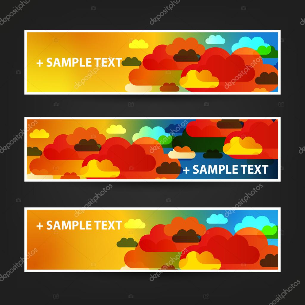 set of horizontal banner background designs ad templates collection of three colorful bright header and banner designs for holiday ad or web campaign or announcement creative design illustration in ly