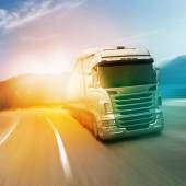 Gray truck on highway — Stock Photo