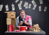 Businessman is laundering money — Stock Photo